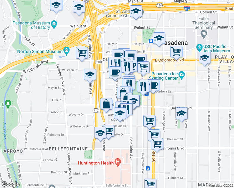 map of restaurants, bars, coffee shops, grocery stores, and more near 86 Orange Place in Pasadena