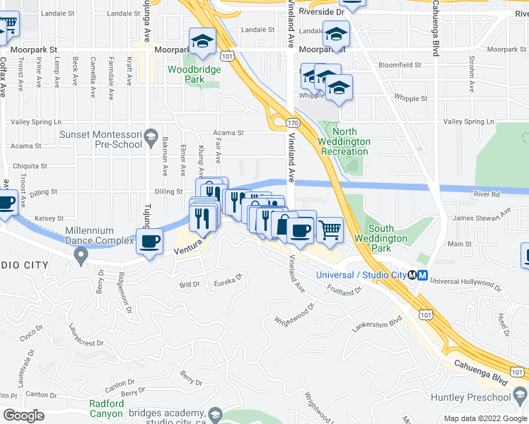 map of restaurants, bars, coffee shops, grocery stores, and more near 11117 Ventura Boulevard in Los Angeles