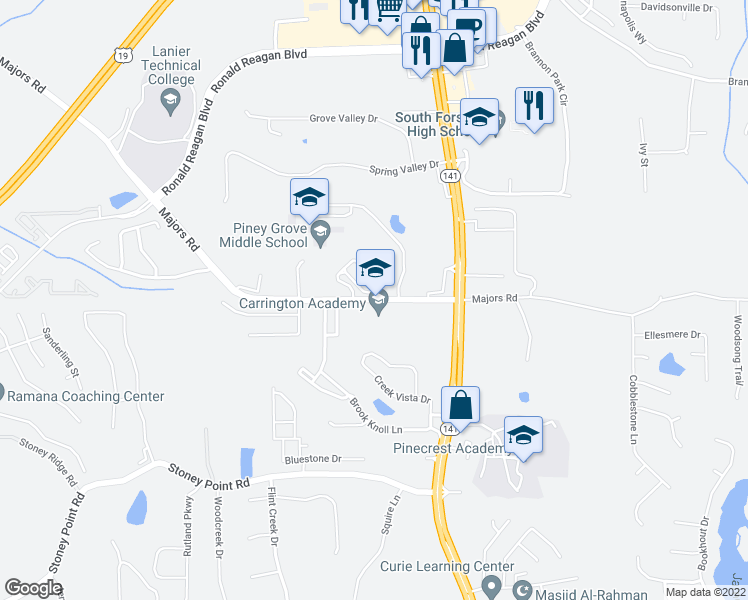 map of restaurants, bars, coffee shops, grocery stores, and more near 8415 Majors Road in Cumming