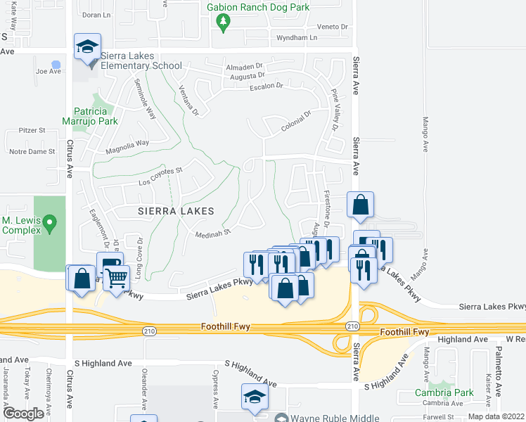 map of restaurants, bars, coffee shops, grocery stores, and more near 6145 La Costa in Fontana