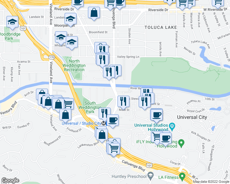 map of restaurants, bars, coffee shops, grocery stores, and more near Lankershim Boulevard in Los Angeles
