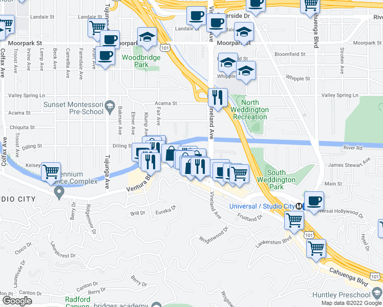map of restaurants, bars, coffee shops, grocery stores, and more near 4180 Arch Drive in Los Angeles