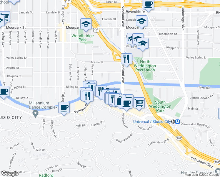 map of restaurants, bars, coffee shops, grocery stores, and more near 4180 Arch Dr in Los Angeles