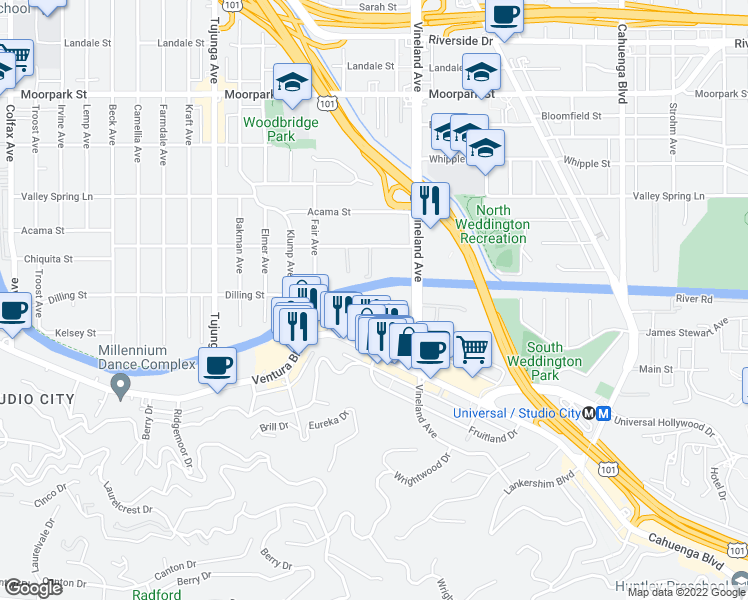 map of restaurants, bars, coffee shops, grocery stores, and more near 4185-4187 Arch Drive in Los Angeles