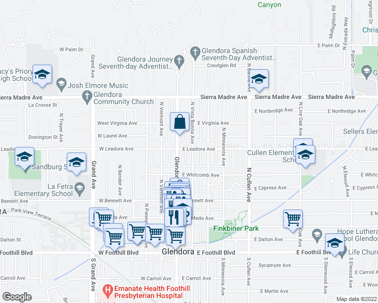 map of restaurants, bars, coffee shops, grocery stores, and more near 457 North Vista Bonita Avenue in Glendora