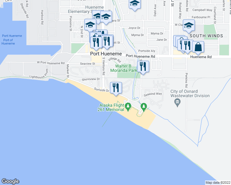 map of restaurants, bars, coffee shops, grocery stores, and more near 375 East Surfside Drive in Port Hueneme