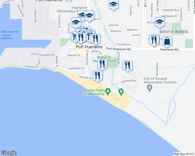 map of restaurants, bars, coffee shops, grocery stores, and more near 586 Island View Cir in Port Hueneme