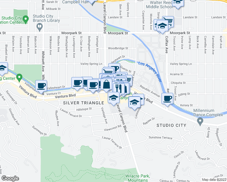 map of restaurants, bars, coffee shops, grocery stores, and more near Laurel Canyon Blvd & Ventura Blvd in Los Angeles