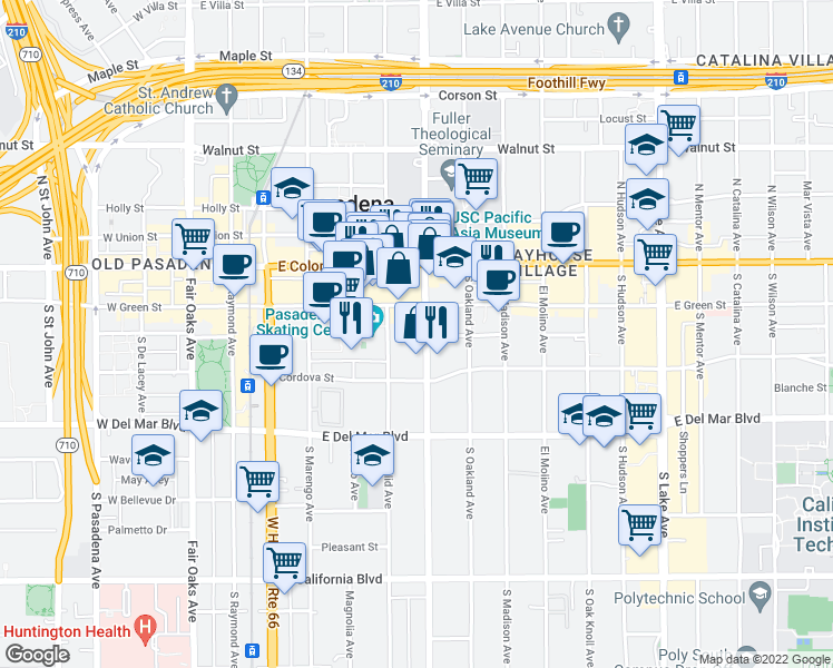 map of restaurants, bars, coffee shops, grocery stores, and more near 119 South Los Robles Avenue in Pasadena