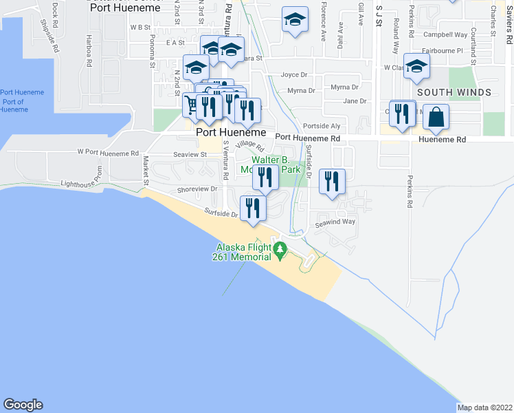 map of restaurants, bars, coffee shops, grocery stores, and more near 570 Terrace View Place in Port Hueneme