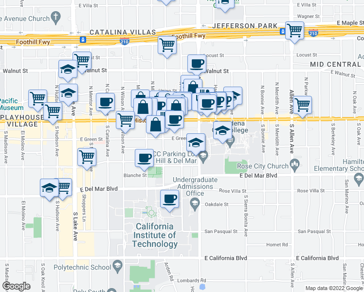 map of restaurants, bars, coffee shops, grocery stores, and more near 1270 East Green Street in Pasadena