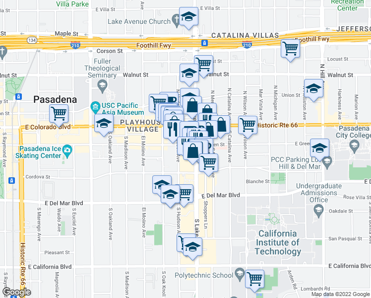 map of restaurants, bars, coffee shops, grocery stores, and more near 840 East Green Street in Pasadena