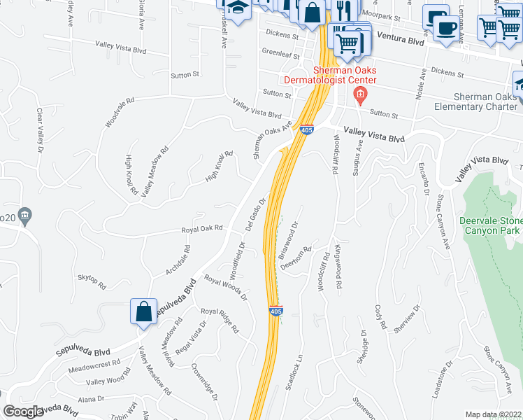 map of restaurants, bars, coffee shops, grocery stores, and more near 15500 Del Gado Drive in Los Angeles