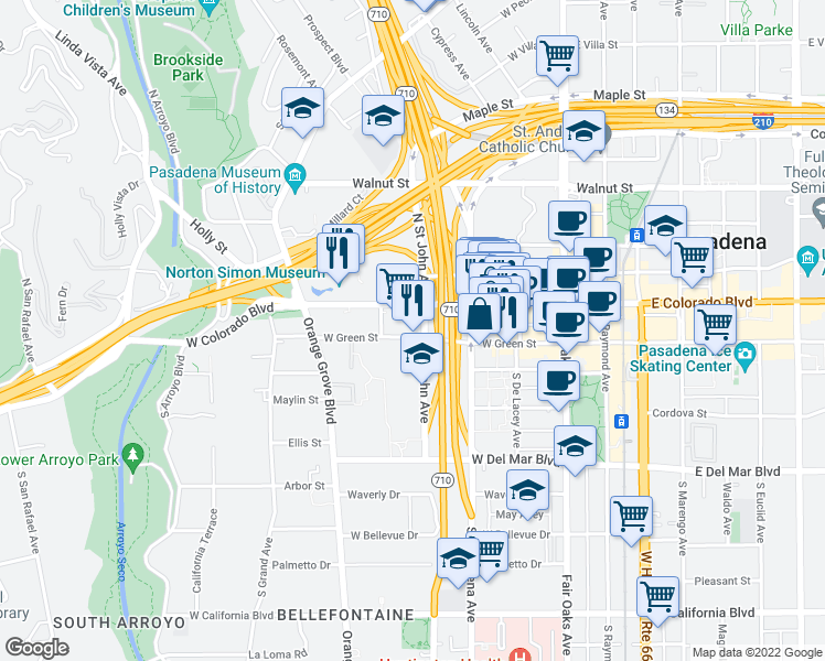 map of restaurants, bars, coffee shops, grocery stores, and more near 277 West Green Street in Pasadena