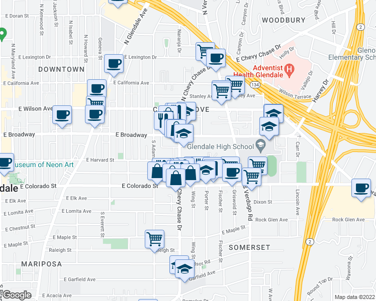 map of restaurants, bars, coffee shops, grocery stores, and more near 1217 East Harvard Street in Glendale