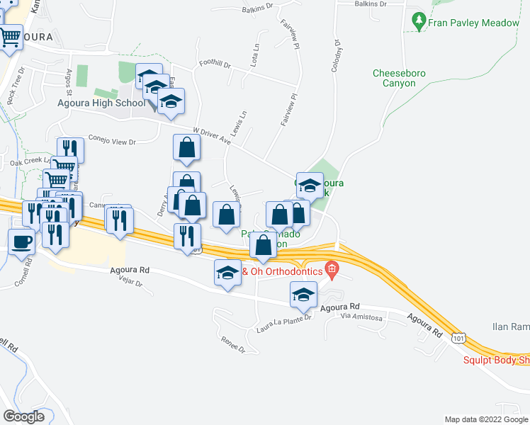 map of restaurants, bars, coffee shops, grocery stores, and more near 5275 Colodny Drive in Agoura Hills