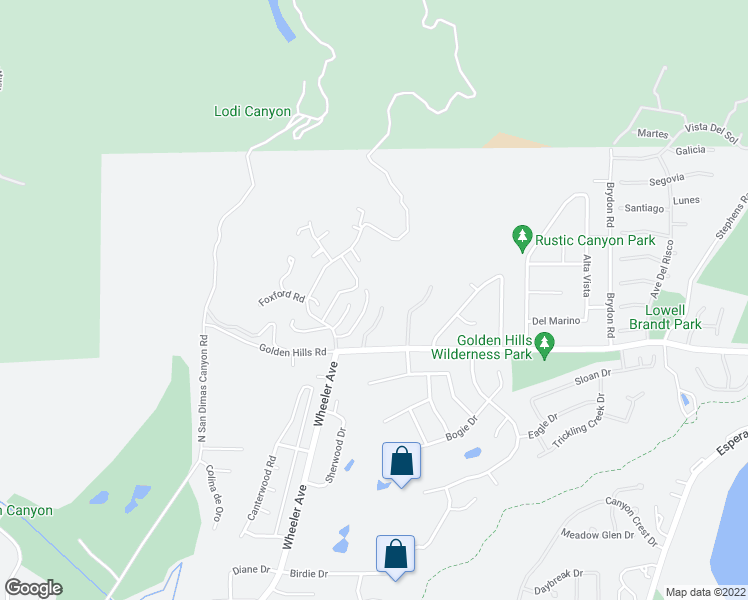 map of restaurants, bars, coffee shops, grocery stores, and more near 1112 Sandhurst Lane in La Verne