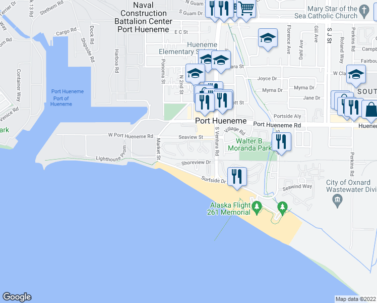 map of restaurants, bars, coffee shops, grocery stores, and more near 271 South Ventura Road in Port Hueneme