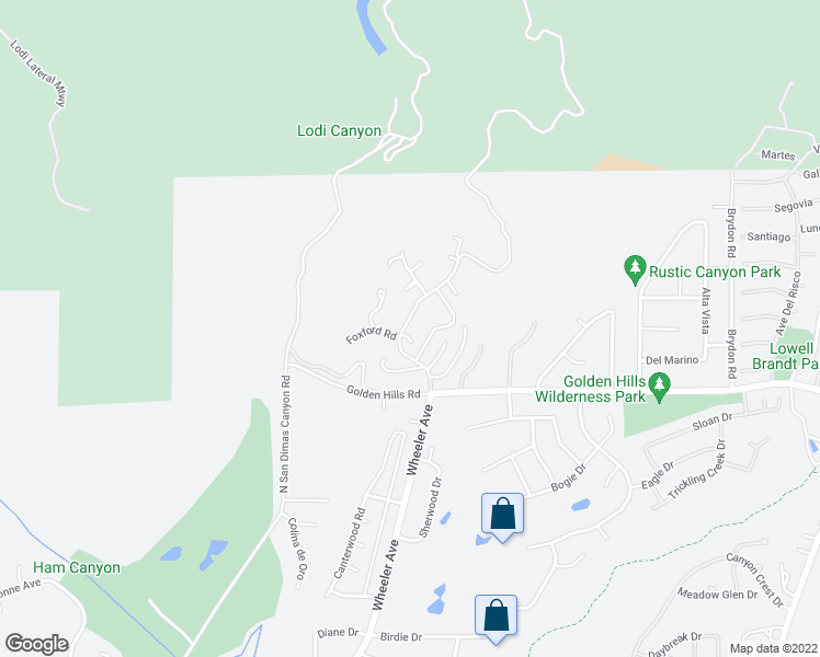 map of restaurants, bars, coffee shops, grocery stores, and more near 5210 Mountain Springs Ranch Road in La Verne
