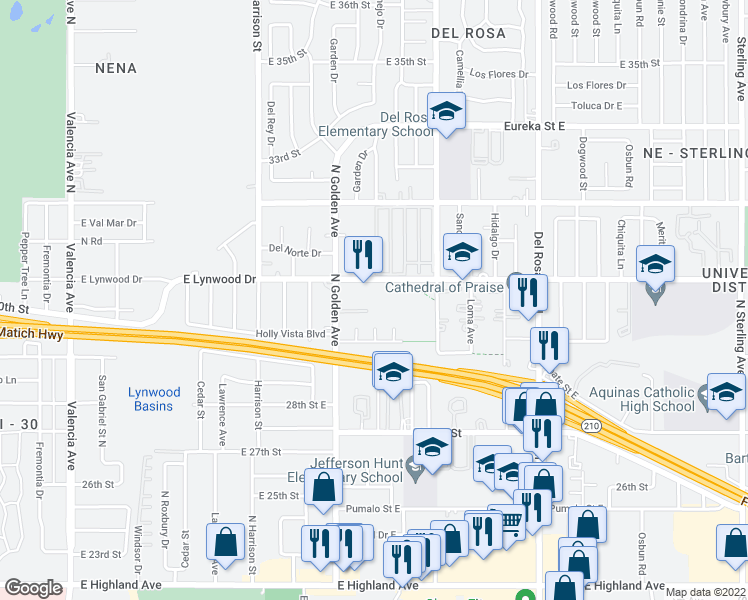 map of restaurants, bars, coffee shops, grocery stores, and more near 1297 Lynwood Drive East in San Bernardino