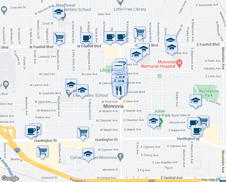 map of restaurants, bars, coffee shops, grocery stores, and more near 125 West Colorado Boulevard in Monrovia
