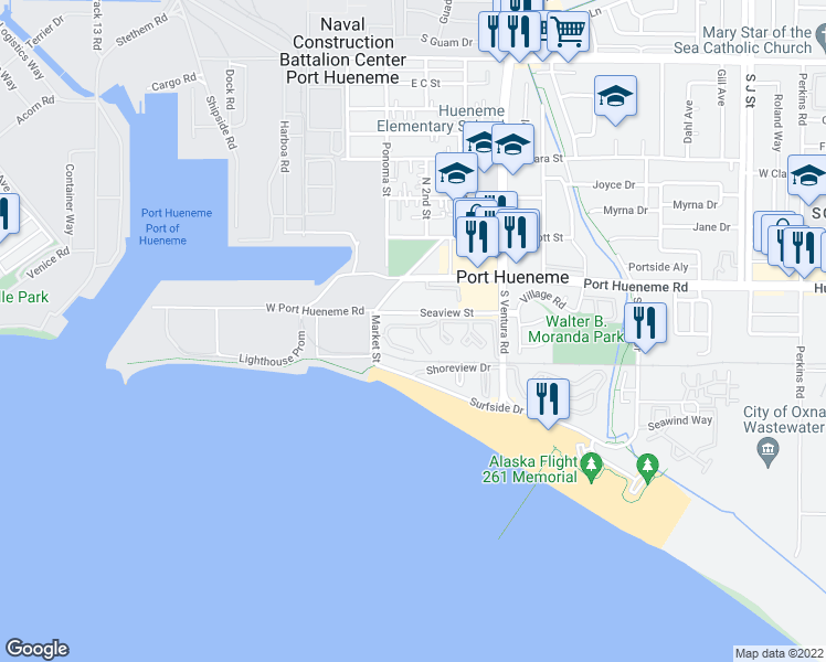 map of restaurants, bars, coffee shops, grocery stores, and more near 166 Seaspray Way in Port Hueneme