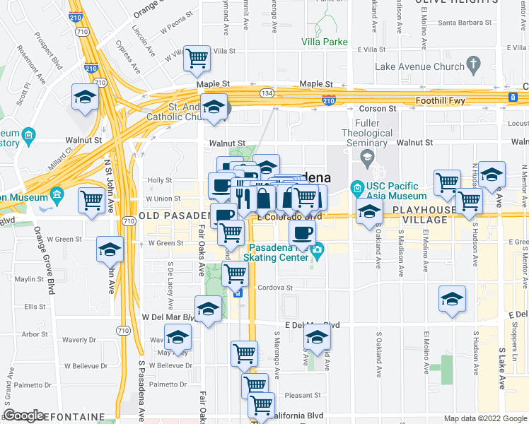 map of restaurants, bars, coffee shops, grocery stores, and more near 177 East Colorado Boulevard in Pasadena