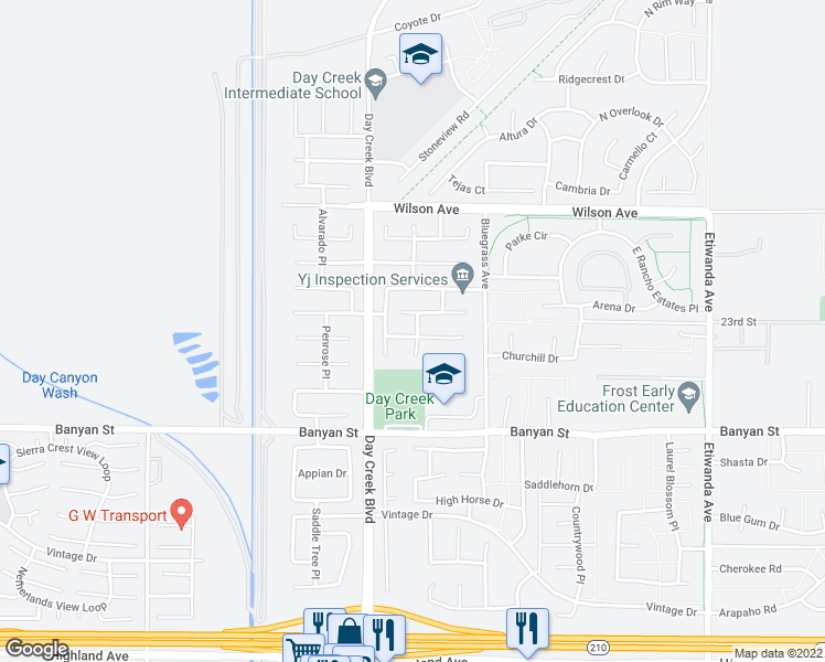 map of restaurants, bars, coffee shops, grocery stores, and more near 12364 Dapple Drive in Rancho Cucamonga