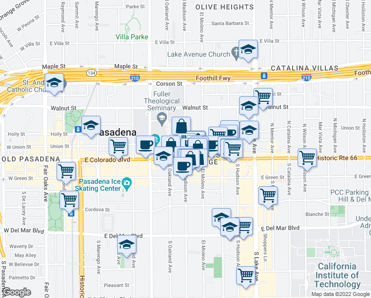 map of restaurants, bars, coffee shops, grocery stores, and more near 1-43 North Madison Avenue in Pasadena