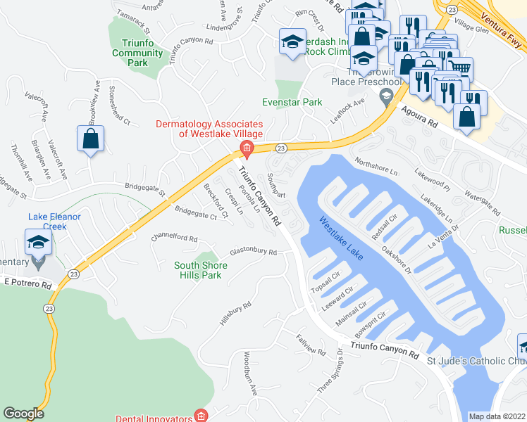 map of restaurants, bars, coffee shops, grocery stores, and more near 2223 Portola Lane in Westlake Village