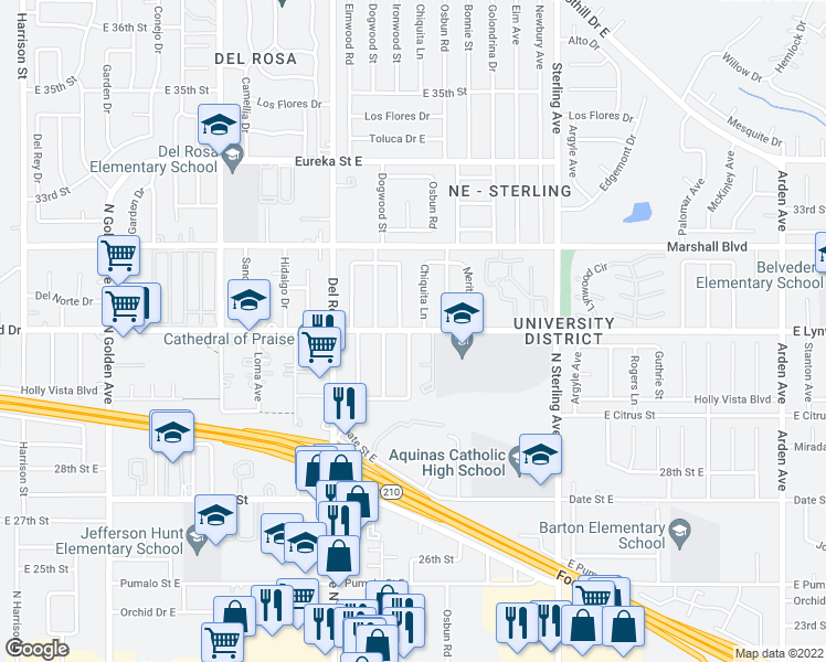 map of restaurants, bars, coffee shops, grocery stores, and more near 5948 North Ironwood Street in San Bernardino