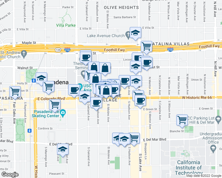 map of restaurants, bars, coffee shops, grocery stores, and more near 686 East Union Street in Pasadena