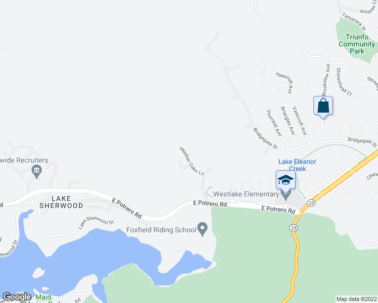 map of restaurants, bars, coffee shops, grocery stores, and more near 1524 Heather Oaks Lane in Westlake Village