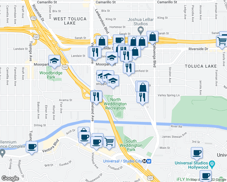 map of restaurants, bars, coffee shops, grocery stores, and more near 4243 Satsuma Avenue in Los Angeles