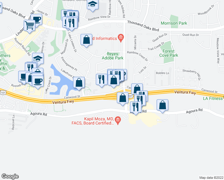 map of restaurants, bars, coffee shops, grocery stores, and more near 30347 Canwood Street in Agoura Hills