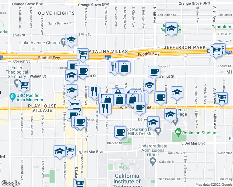 map of restaurants, bars, coffee shops, grocery stores, and more near 64 Mar Vista Avenue in Pasadena