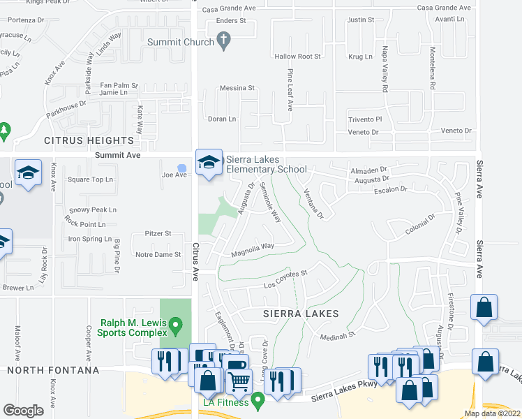 map of restaurants, bars, coffee shops, grocery stores, and more near 16286 Avenal Place in Fontana