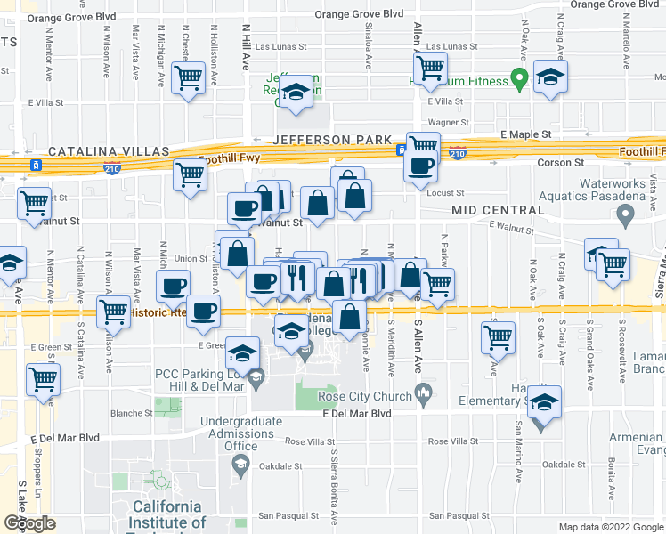 map of restaurants, bars, coffee shops, grocery stores, and more near 93 North Sierra Bonita Avenue in Pasadena