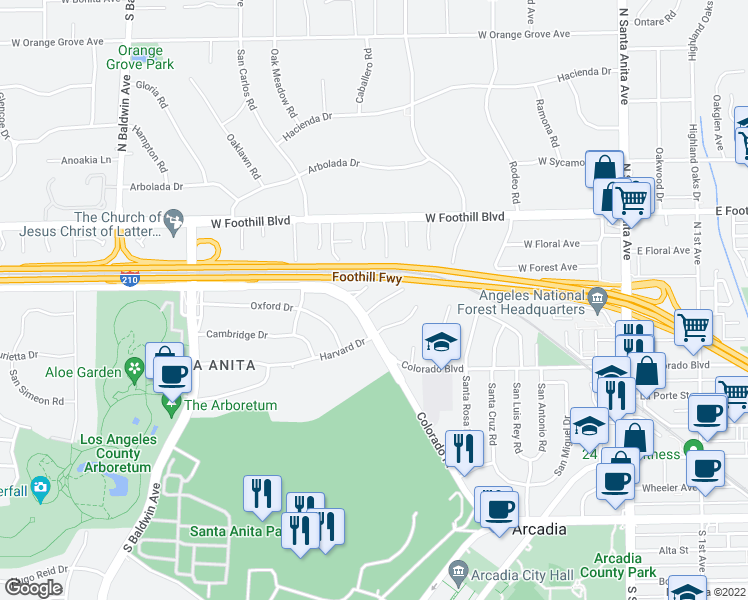 map of restaurants, bars, coffee shops, grocery stores, and more near 279 Renoak Way in Arcadia