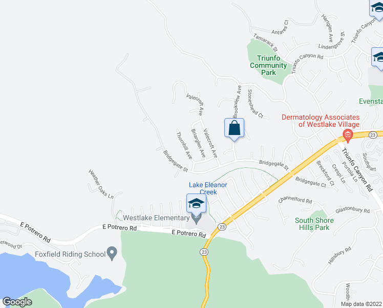 map of restaurants, bars, coffee shops, grocery stores, and more near 1460 Thornhill Avenue in Westlake Village