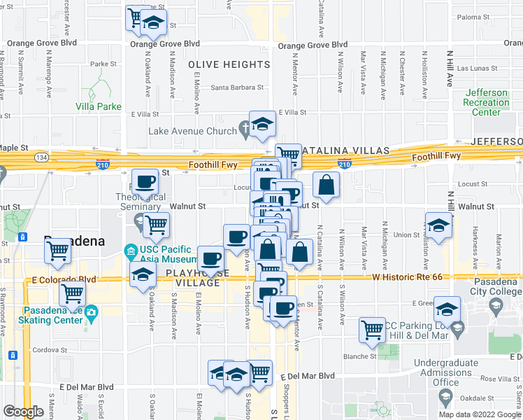 map of restaurants, bars, coffee shops, grocery stores, and more near 888 East Walnut Street in Pasadena