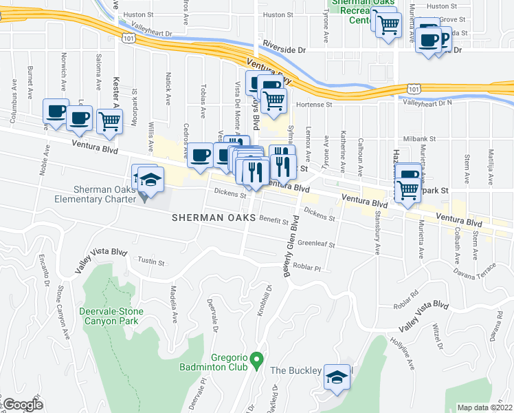 map of restaurants, bars, coffee shops, grocery stores, and more near 4320 Van Nuys Boulevard in Los Angeles