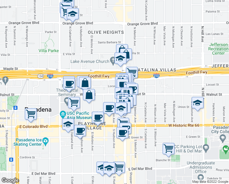 map of restaurants, bars, coffee shops, grocery stores, and more near 801 East Walnut Street in Pasadena