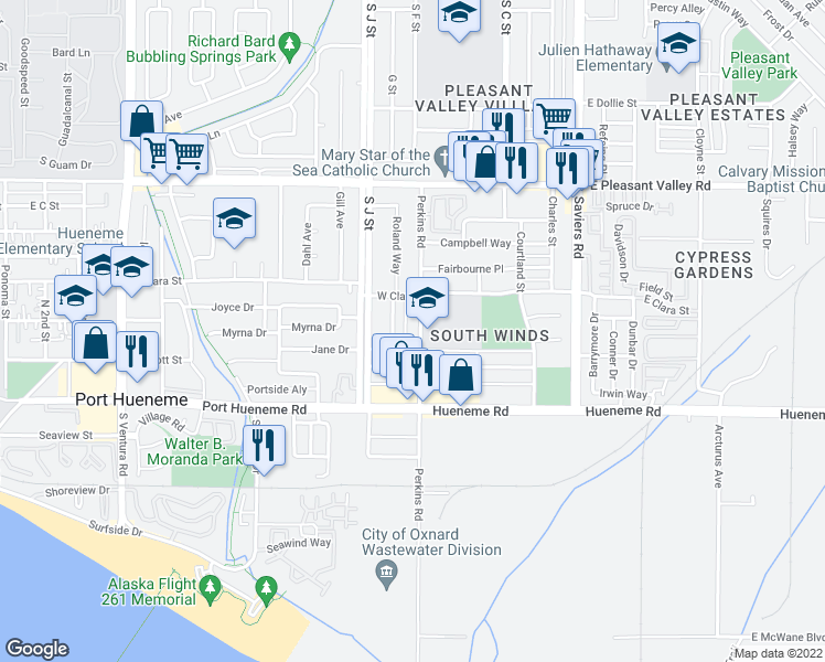map of restaurants, bars, coffee shops, grocery stores, and more near 5411 Perkins Road in Oxnard