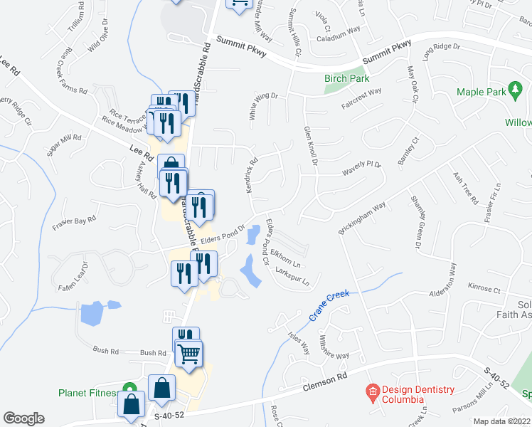 map of restaurants, bars, coffee shops, grocery stores, and more near 6 Kendrick Court in Columbia