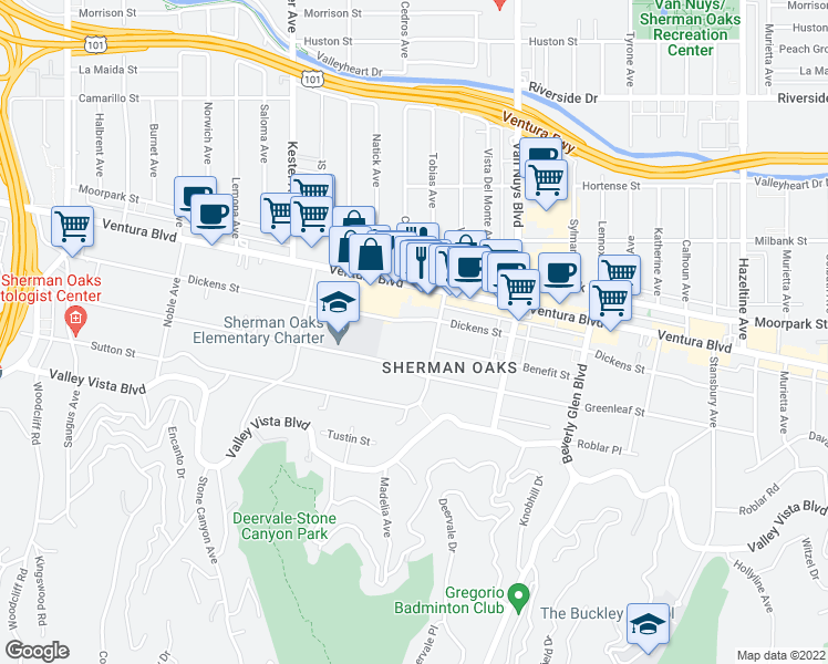 map of restaurants, bars, coffee shops, grocery stores, and more near 14620 Dickens Street in Los Angeles
