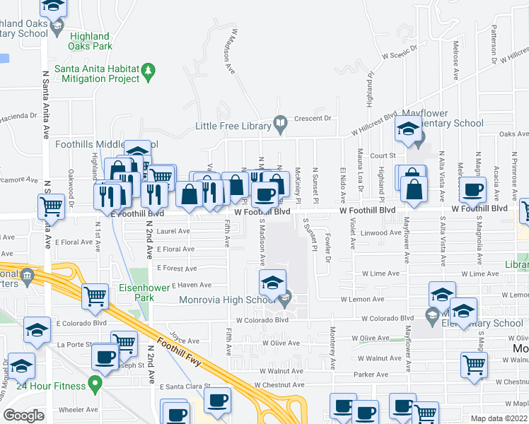 map of restaurants, bars, coffee shops, grocery stores, and more near 880 W Foothill Blvd in Monrovia