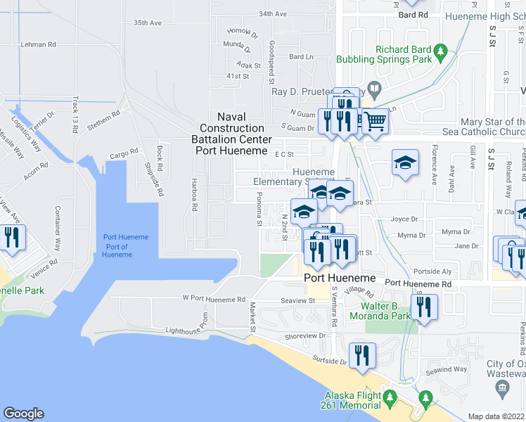 map of restaurants, bars, coffee shops, grocery stores, and more near 348 Ponoma Street in Port Hueneme