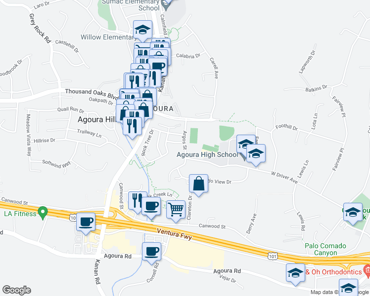 5313 Argos Street, Agoura Hills CA - Walk Score on map of woodland hills, sheraton agoura hills, map north hills ca 91343, map of holmby hills, map of north hills,