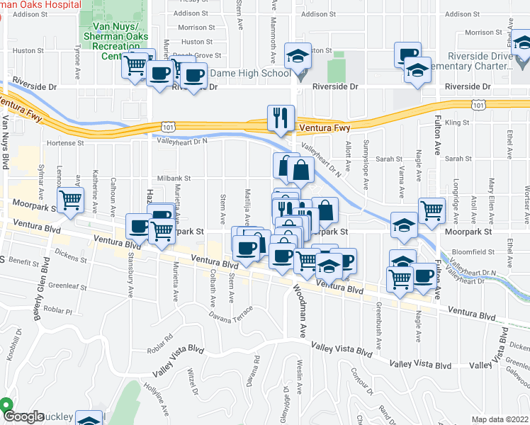 map of restaurants, bars, coffee shops, grocery stores, and more near 4450 Mammoth Avenue in Los Angeles